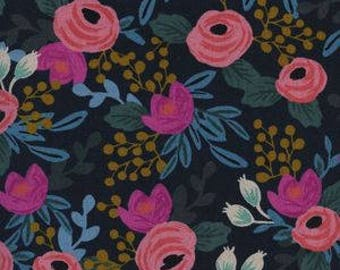 rosa navy canvas, blue floral fabric, cotton and steel, menagerie fabric, rifle paper fabric, rifle paper co, rifle paper canvas, 8012-22