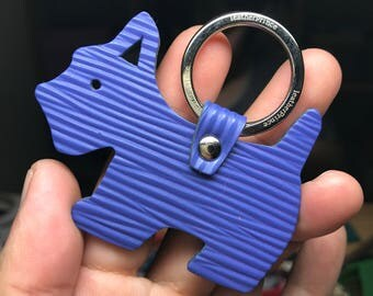 Special Offer - Ready Stock - Small size - 10th Anniversary silhouette dog Epi leather keychain ( Violet )