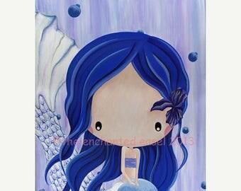 50% OFF Sapphire Mermaid, Painting, Girls Wall Art, Birthstone, Blue, Iris, Nursery Art, Whimsical, Girls Room, Fantasy, Mermaid, Ocean, Can