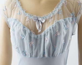 Vintage 1950s Pale Blue Nylon Nightgown with Embroidery and Lace by Phil Maid Sz 36 38