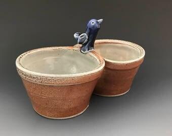 Double Dish with Blue Bird - Pistachio Dish - Condiment Bowl - Nut Bowl - Pickle Dish - Soda Glazed Stoneware Pottery -