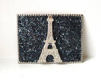 Womens Belt Buckles- Eiffel Tower Buckle- Rhinestone Buckles- Paris Buckle- Black Buckles- Hematite Silver- Neutral Color- Womans Gift Idea