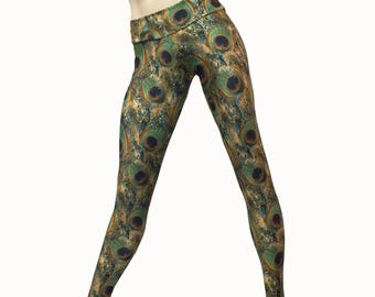 SALE xs/s - Yoga Pants - Workout Clothes - Hot Yoga - Fitness - Green - Peacock Pants - Low Rise - Legging - Tights - SXY Fitness
