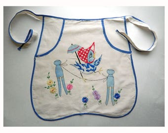 Vintage Apron-Style Clothespin Holder with Whimsical Embroidery