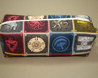 Boxy Makeup Bag- Game of Thrones House Sigils- Pencil Pouch - Lannister, Targaryen, Stark, Arryn, Baratheon, Greyjoy, Martell, Tully, Tyrell