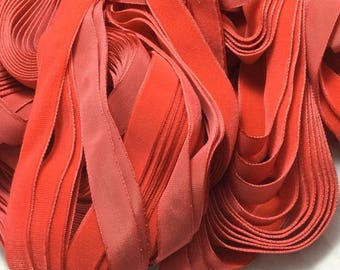Vintage French Rayon VELVET Ribbon Taffeta Back -CORAL by the yard 5/8 inch