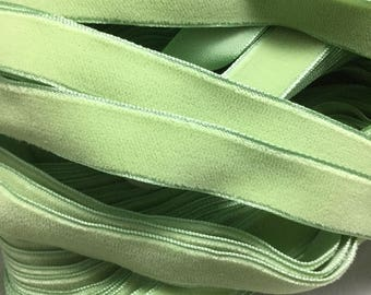 Vintage French Rayon VELVET Ribbon Taffeta Back - LIGHT GREEN by the yard 5/8 inch