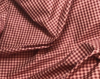 "Silk Taffeta Fabric - Burgundy & Pink Gingham Check 54"" wide -By the Yard -"