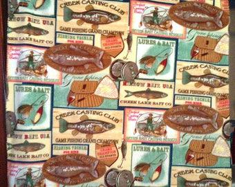 Fishing NoSew Fleece Blanket