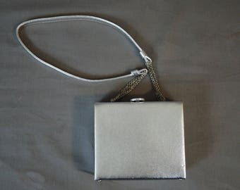 Vintage Silver Box Purse with Shoulder Strap, 1980s  Party, Prom, Cocktails