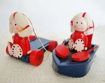 vintage christmas ornaments painted wood children