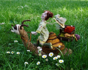 Snella and Hugo - one-of-a-kind felted sculpture/art doll scene