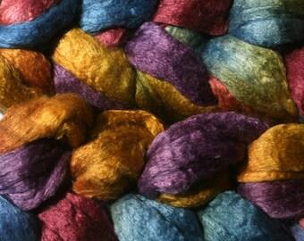 Merino/Silk Spinning Fiber - OO- Hand Dyed Roving for Spinning and Felting
