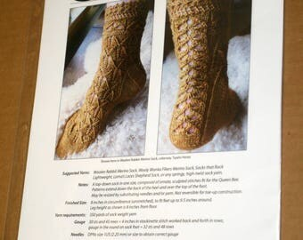 CLEARANCE 2 Printed Sock Knitting Patterns, Knitspot Marie Antoinette and Tidelines