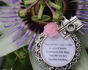 Memories Caught On Film Quote Photography Camera Necklace