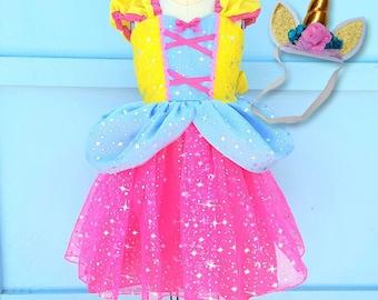 UNICORN dress, girls UNICORN costume, Unicorn princess dress,  toddler girls costume, Halloween costume, sparkle princess dress