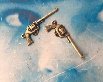 Brass Ox Plated Brass Pistol Gun Charms Stampings 89BOX  x4