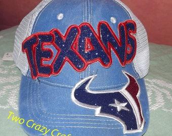 Houston Texans Toro Football NFL Appliqued Embroidered Hat, Monogrammed Cap, Baseball, Cap, Trucker Cap