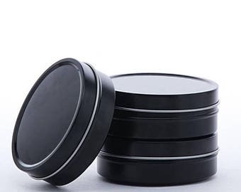 New Years Sale 24 Pack Black Shallow 2 Ounce Round Tins Great for candles, tinctures, salves, dry goods