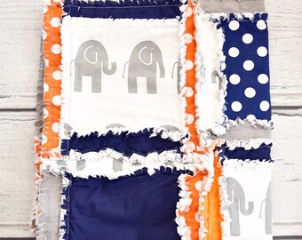 Elephant Baby Quilt- Orange/ Navy/ Gray Baby Bedding for Boy- Safari Crib Bedding- Elephant Bedding Baby Comforter Rag Quilt- Jungle Nursery