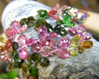 Multi Tourmaline Petite Faceted Drops - Half Strand - 5 to 6mm - 3 Inches