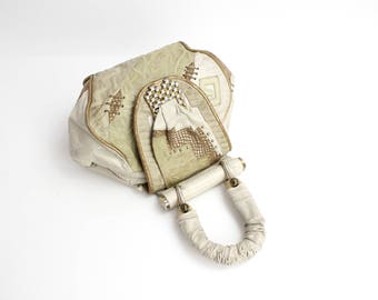 Vintage 1980s Abstract Leather Purse | Exotic Lizard Embossed Leather Bag | Crazy Boho Leather Patchwork Handbag