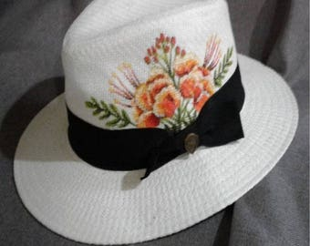 Barbados Pride Flower Handpainted Hat