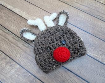 Crochet Baby Reindeer Hat, Christmas Baby Hat Prop, Newborn Reindeer Hat, Baby Winter Hat, Infant Reindeer Hat, Baby Red Nose Reindeer Hat