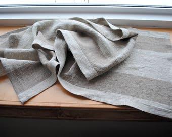 Natural Linen Table Runner Rustic Preshrunk Beige Taupe Farmhouse Tablerunner