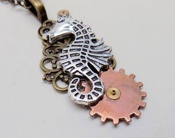 Steampunk seahorse necklace pendant.