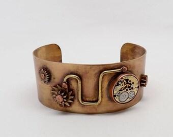 Steampunk brass cuff. brass cuff. bracelet.