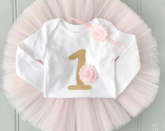 First Birthday Outfit Girl, Tutu Dress Set, Baby Romper, Baby Headband, Tulle Skirt, 1st Birthday Outfit Girl, Baby Tutu Set, Baby Girl Tutu