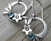Summer Happiness London Blue Topaz Sterling Silver Earrings PMC December Birthstone