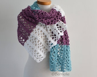 Crochet shawl, stripes, blue, white and purple