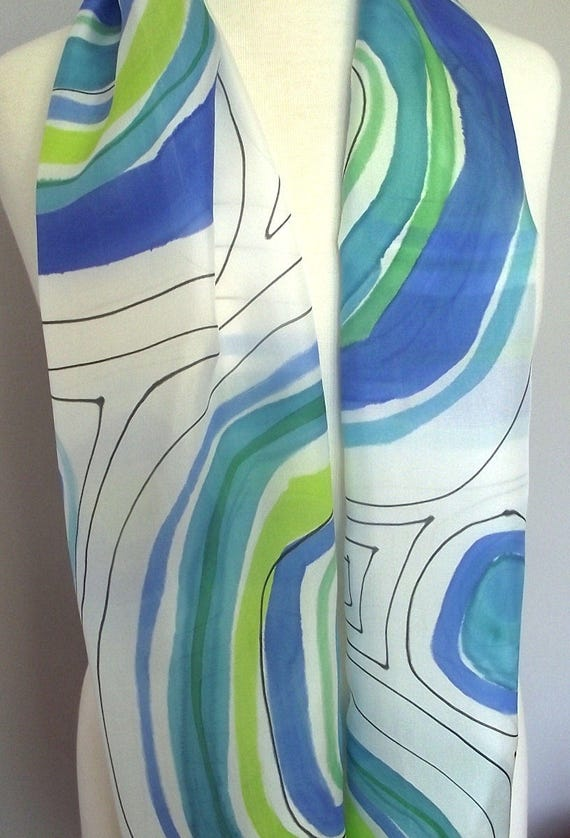 Hand Painted Silk Scarf, Modern Abstract Circles in Royal Blue, Turqoise and Lime with Black Lines 14x72""