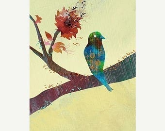 50% Off Summer Sale - Modern Bird Illustration Print - The World Standing Still - 12x18 Art Print