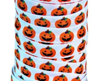 20% OFF EXP 06/30 Designer 5 Yards 5/8 Print Fold Over Elastics FOE - Halloween Pumpkin