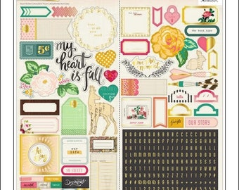 Crate Paper Maggie Holmes, Open Book Stickers, Icons, Phrases, and Alphabet - Journalling, Cards, Scrapbook