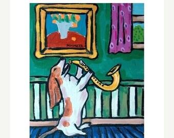 20 % off storewide Basset Hound Playing the Saxophone Dog Art  Print