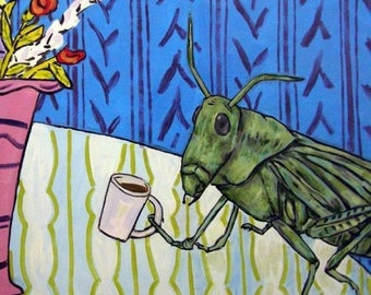 20% off storewide Grasshopper at the Coffee Shop Insect Art Tile