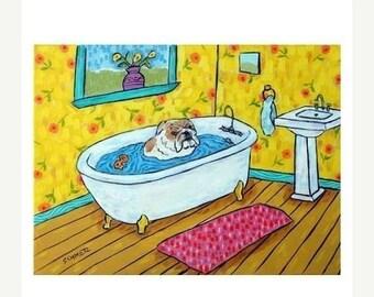 20% off storewide Bulldog -  inch dog art PRINT, bathroom art, bathroom print, dog, dog art,. modern folk art, bulldog print, bulldog art, d