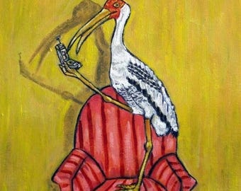 20% off Painted Stork Talking on a Cell Phone Bird Art Tile