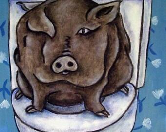 20% off Pot Belly Pig in the Bathroom Animal Art Tile Coaster Gift JSCHMETZ modern abstract folk pop art AMERICAN ART gift