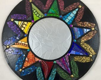 "20"" Stained Glass Mosaic Mirror Rainbow Black"