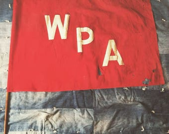 Vintage 1930s-1940s WPA Cotton Flag, Works Progress Administration