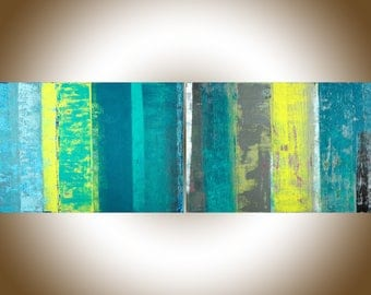 "Abstract painting 72""x 24"" Turquoise blue grey yellow original artwork modern art wall art canvas art ""Spring Ribbon"" by qiqigallery"