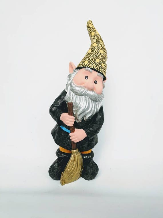 Garden Gnome with a broom  hand painted Garden Gnome super sparkly