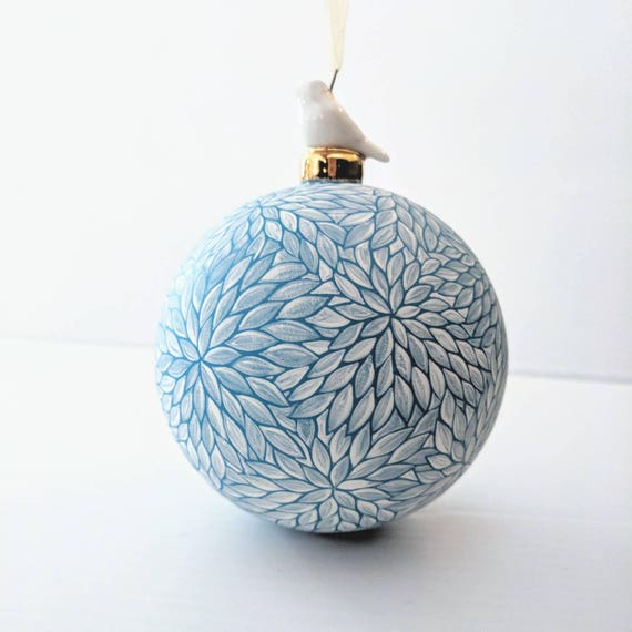 Winter wonderland hand painted glass ornament with birdie topper blue and white elegant glass ornament