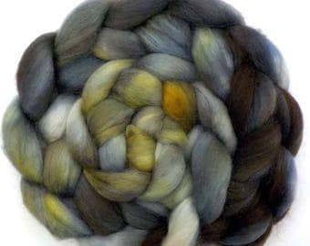 Roving Hand Dyed Custom Blend Polwarth Kid Mohair Silk Combed Top - Storm Warning, 5.4 oz.