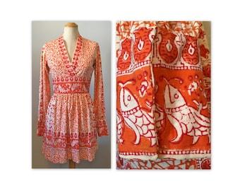 Vintage 70s Gauze Mini Dress XS S Fish Print in Orange and White